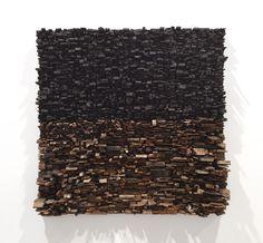 Leonardo Drew  Number 137, 2010  Wood, paint, string  24 x 24 x 7.5 inches  61 x 61 x 19.1 cm