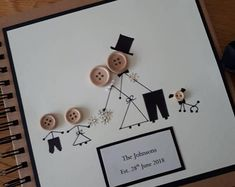 Wedding card – mr and mrs- marriage – wedding day- greetings card – kraft- buttons – bride -groom - GIFT FOR GROOM Diy Wedding Menu, Wedding Menu Template, Wedding Cards Handmade, Quirky Wedding, Wedding Gifts, Wedding Day, Wedding Bride, Selling Handmade Items, Button Cards