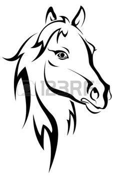 paddock: Silhouette de cheval noir isolée sur blanc pour la conception