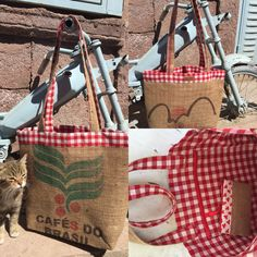 red checked lined coffee sack bag, 50 TL, 20 euros