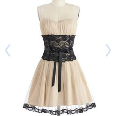 Storied Romance in Champagne. Strapless dress. A dress fit for princesses, this dress will make you feel royal.  It has a black lace bodice, with a curve hugging black ribbon belt. The fabric ends at about the knees, but a see through cloth continues a bit further with a black trim at the bottom. This dress is great for a romantic evening with a loved one, a fancy dinner party, and formal dances. So if you want to get in touch with your royal side, this is the dress for you! * Comes with a…