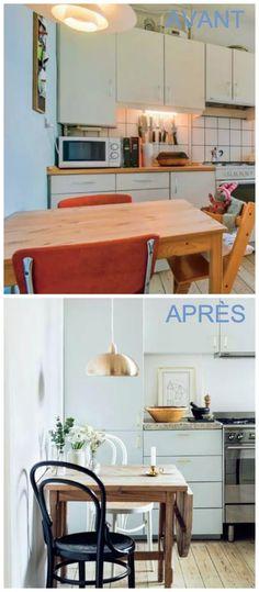 Avant / après, une cuisine dans laquelle il fait bon flâner : les meubles ont été repeint, les chaises et la lampe remplacés.