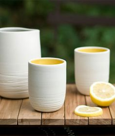 ceramic cups... love the yellow glaze!