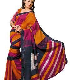 Buy Orange printed jute-silk saree with blouse printed-saree online