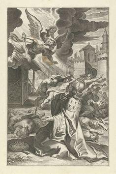 Peter Paul Rubens | Koning David ziet de engel des doods, Peter Paul Rubens, c. 1612 - c. 1616 | Een engel met een vlammend zwaard valt mensen aan vanuit de hemel. De geknielde koning David ziet de engel dood en verderf onder het volk van Israel zaaien. Hij smeekt God om genade. De prent is deel van een serie met scènes uit het Oude en Nieuwe Testament.