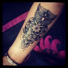 """Owl tattoo <span class=""""emoji emoji1f60a""""></span><span class=""""emoji emoji1f49e""""></span> #dotwork #owl #triplesixstudios #ink #bird #mandala #tattoo #loveit #forearm ..."""