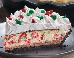 Bakers Square Candy Cane pie This pie is a favorite during the holidays. We start with a dark cookie crumb crust, layer it with milk chocolate and top it with a peppermint white silk filling mixed with red and green peppermint chips. Next, there is another thin layer of milk chocolate finished with real whipped cream and red and green candy drops.