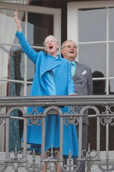 Queen Margrethe II of Denmark and Prince Henrik of Denmark during Queen Margrethe's 76th Birthday Celebration at Amalienborg Palace on April 16, 2016 in Copenhagen, Denmark