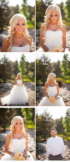 wedding hair/makeup. Also, isn't it kinda funny how there's 5 pictures of her and only 1 of the groom