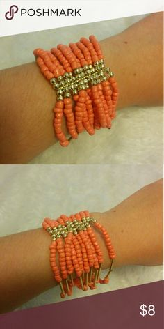 Coral bracelet Coral beads with gold beads. Stretchy to fit all sizes. Jewelry Bracelets