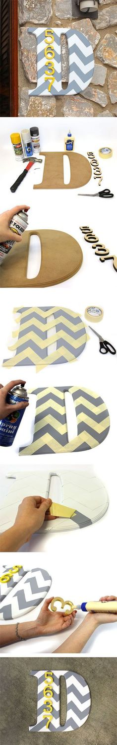 DIY Letters - This would be cute on the front porch with house numbers! NOT CHEVRON THOUGH! Takes focus away from the House numbers. Confusing for those looking for the address! Cute Crafts, Crafts To Do, Diy Crafts, Chevron Letter, Chevron Monogram, Monogram Gifts, Grey Chevron, Do It Yourself Organization, Diy Organization