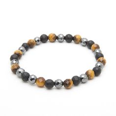 Faceted Tigereye & Faceted Hematite & Faceted Matt Onyx – ATOLYESTONE