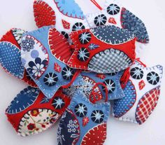 London 2012 owl ornaments red white and blue  by PuffinPatchwork, $22.50