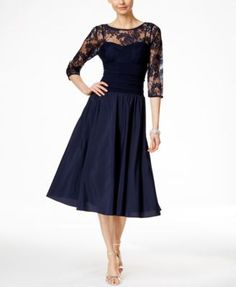 Wearing this to a wedding in May. Jessica Howard Three-Quarter-Sleeve A-Line Dress - Dresses - Women - Macy's Mob Dresses, Tea Length Dresses, Bridal Dresses, Bridesmaid Dresses, Halter Dresses, Sleeve Dresses, Formal Dresses, White A Line Dress, Navy Cocktail Dress