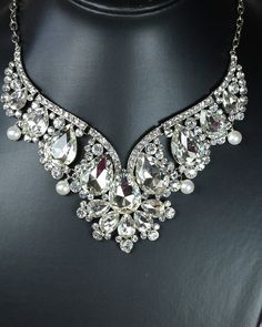 Wedding jewelry set Bridal back drop bib necklace and earrings