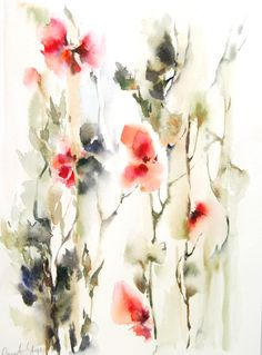 #Abstract Floral Intuitive #Watercolor Painting Original #Watercolour Painting Floral Modern Watercolour Art Color theme: red, green  One of a Kind Watercolour Art  Scale 9.75... #art #etsy #trending #daily #sale #watercolor #watercolour #abstract #painting #aquarelle