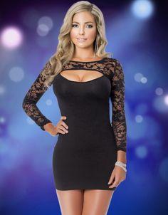 Sexy Black Dress, Black Mini Dress, Sexy Clubwear, Black Lace Dress