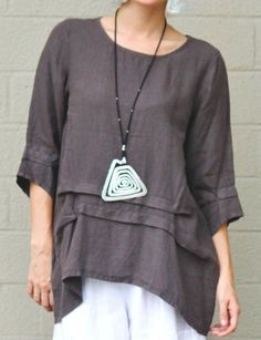 ETLOIS-USA-Light-Linen-PAM-TUNIC-Long-Artsy-Pleated-Detail-Top-S-M-L-XL-TAUPE