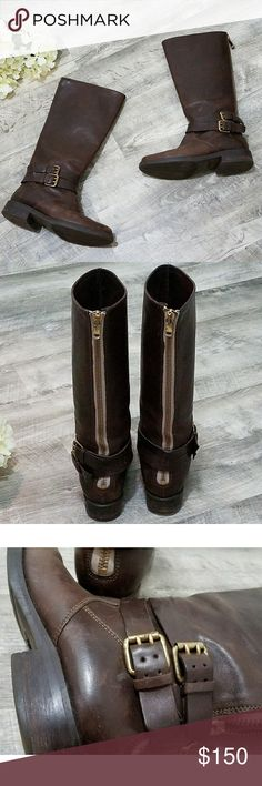 "J Crew Knee High Leather Boots These beauties are rare and hard to find, I haven't seen another pair like them! Features are back zipper closure, gold hardware, two belts that wrap around boot, distress look, rich brown color, (all leather boot except for the sole) and white stitching by buckles to finish the look 💕 The length is 14.5"" including the heel and the calf is 7"" laying flat. EUC J. Crew Shoes Over the Knee Boots"