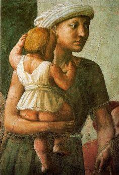 Mother and child, most beautiful detail of La distribuzione dei beni , fresco in Florence, church of Santa Maria del Carmine,  Brancacci chapel