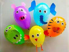 Globos de animales. Imprimibles para decorar globos de colores. - Aprendiendo con Julia