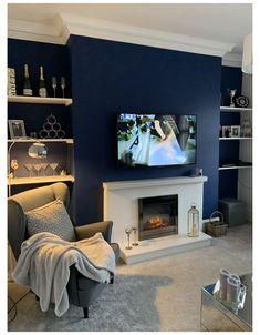 Navy Living Rooms, Dark Blue Living Room, Blue Living Room Decor, Living Room Color Schemes, Living Room Colors, New Living Room, Living Room Designs, Navy Blue Rooms, Cozy Living