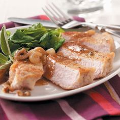 From Taste of Home!   Gluten free dredged pork chops - this recipe can also be made free of dairy, soy, and nuts.  *I plan to simply omit the walnuts.  Also, the recipe doesn't call for anything with soy, but many people use margarine or another soy-containing spread instead of butter.  I plant to use Earth Balance Soy Free or extra virgin olive oil.