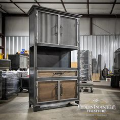 """The SpeakEasy, built vertically as hutch and to be used as a liquor cabinet 🥃 Dimensions 36"""" (L) x 16"""" (D) x 72"""" (H) MADE IN TEXAS Stay safe 🙏everyone. #texasmade #modernindustrialstyle #barcabinet #winecabinet #liquorcabinet Modern Industrial Furniture, Unique Furniture, Furniture Making, Wine Credenza, Sideboard Cabinet, Industrial Machinery, Cabinet Dimensions, Wine Cabinets, Architectural Elements"""