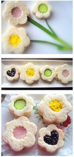 Afternooon tea inspiration is a great way to celebrate Shavuot - flour shaped sandwiches are genius. Tea Sandwich Ideas / Home Cooking in Montana Tea Party Sandwiches, Finger Sandwiches, Cute Food, Yummy Food, Afternoon Tea Parties, Snacks Für Party, My Tea, Tea Recipes, Finger Foods