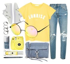 """Yellow Day"" by smartbuyglasses-uk ❤ liked on Polyvore featuring Puma, Levi's, Rebecca Minkoff, MANGO, Quay, Fuji, Christian Dior, Jo Malone, yellow and Blue"