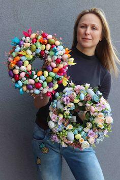 Wreath Crafts, Diy Wreath, Diy Crafts, Spring Crafts, Holiday Crafts, Easter 2018, Easter Flowers, Easter Holidays, Easter Wreaths