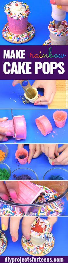 How To Make Rainbow Cake Pops - Rainbow Milkshake Cake Pop Dessert Recipe is Fun and Easy Idea