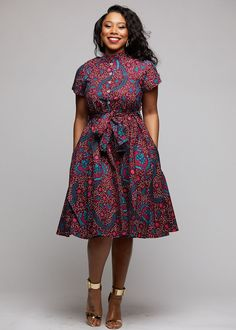 Ebele African Print Mandarin Collar Shirt Dress (Pink/Teal Ditsy)- Clearance - How To Be Trendy Short African Dresses, Ankara Short Gown Styles, Short Dresses, African Dress Styles, African Shirt Dress, African Fashion Ankara, Latest African Fashion Dresses, African Print Fashion, Modern African Clothing