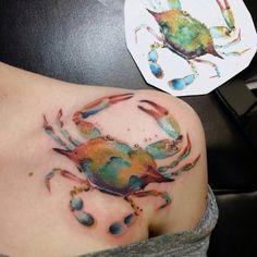 Watercolor Blue Crab Tattoo - Top of Foot