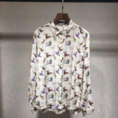 XL!Freeship New Designer Tops Blouses Spring 2017 Ladies Turn-down Collar Cute Animal Print Long Sleeve Casual Silk Blouse Shirt