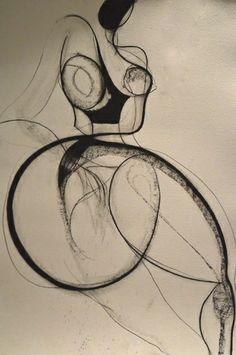 Drawing by Carmel Jenkin, Inverted Nude, charcoal on paper, 81cm... -- Carmel Jenkin