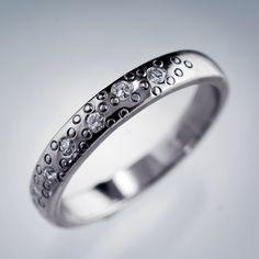 Narrow Moissanite Wedding Ring, Star Dust Wedding Ring in Sterling Silver, Palladium, Platinum, Gold; Womens Wedding Band by NodeformWeddings on Etsy https://www.etsy.com/listing/228073264/narrow-moissanite-wedding-ring-star-dust