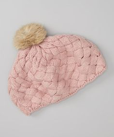 Take a look at this Pink Fur Pom-Pom Beret by Tutus by Tutu AND Lulu on #zulily today!