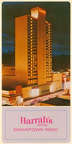 Harrahs Hotel Casino Reno Nevada 8/28/82 married, had top floor penthouse suite, next to Sammy Davis Jr's room, had to have a key for the elevator to get up to that floor, then a key to open the gates on that floor to get to the room.. so cool.