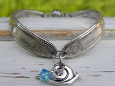 Spoon handle bracelet - snail charm - blue crystal bead - silver vinta - Whispering Metalworks
