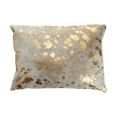 Barneys New York Spot Pillow at Barneys.com Wrinkled gold leather pillow with metallic hair top layer in spot pattern. Contrast suede back. 295