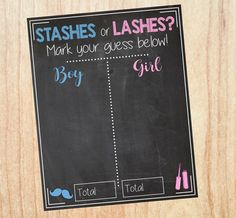 Stashes or Lashes Gender Reveal Guess sign by redmorningstudios