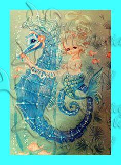 s378 Vintage Fairy tale Mermaid  illustration children's room nursery panel Cotton Print Fabric square Block Applique 4 Quilt 5x7. $7.00, via Etsy.