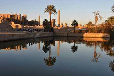 Sacred Lake Karnak with Thutmose III & Hatshepsut's obelisks. Egypt