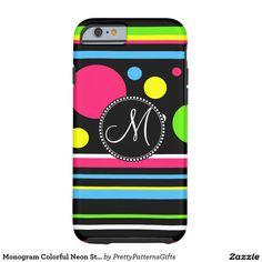 Monogram Colorful Neon Stripes Polka Dots iPhone 6