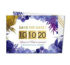 save the date bouquet floral bleu et or