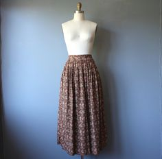 vintage prairie skirt 10 / brown floral maxi skirt / pleated floral skirt / ralph lauren by GazeboTree on Etsy