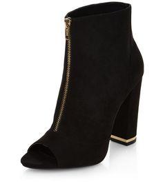Black Suedette Zip Front Peep Toe Block Heels | New Look
