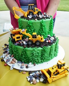 Digger/Dump Truck Cake - Party Cakes by Amy Culligan Horton Digger Birthday Cake, Tractor Birthday Cakes, Digger Cake, 2 Birthday Cake, Tractor Cakes, Birthday Ideas, Excavator Cake, Dump Truck Cakes, Birthday Cakes