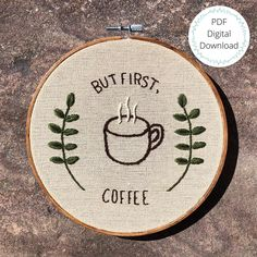 Hand Embroidery Patterns Flowers, Hand Embroidery Stitches, Modern Embroidery, Embroidery Hoop Art, Cross Stitch Embroidery, Coffee Punch, Chrochet, Sewing, Crafting